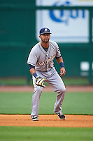 San Antonio Missions first baseman Luis Domoromo (7) during a game against the NW Arkansas Naturals on May 30, 2015 at Arvest Ballpark in Springdale, Arkansas.  San Antonio defeated NW Arkansas 5-1.  (Mike Janes/Four Seam Images)