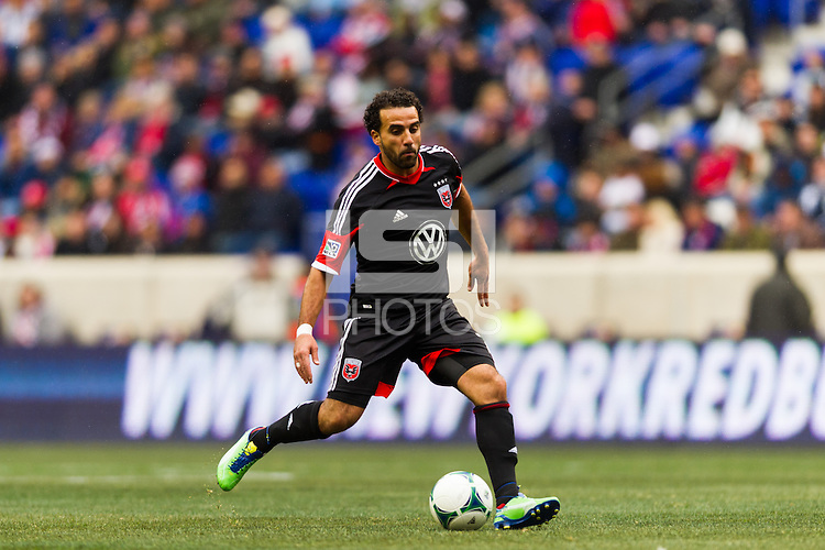 Dwayne De Rosario (7) of D. C. United. The New York Red Bulls and D. C. United played to a 0-0 tie during a Major League Soccer (MLS) match at Red Bull Arena in Harrison, NJ, on March 16, 2013.