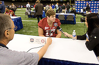 Brad Smelley of Alabama talks with the reporters during BCS Media Day at Mercedes-Benz Superdome in New Orleans, Louisiana on January 6th, 2012.