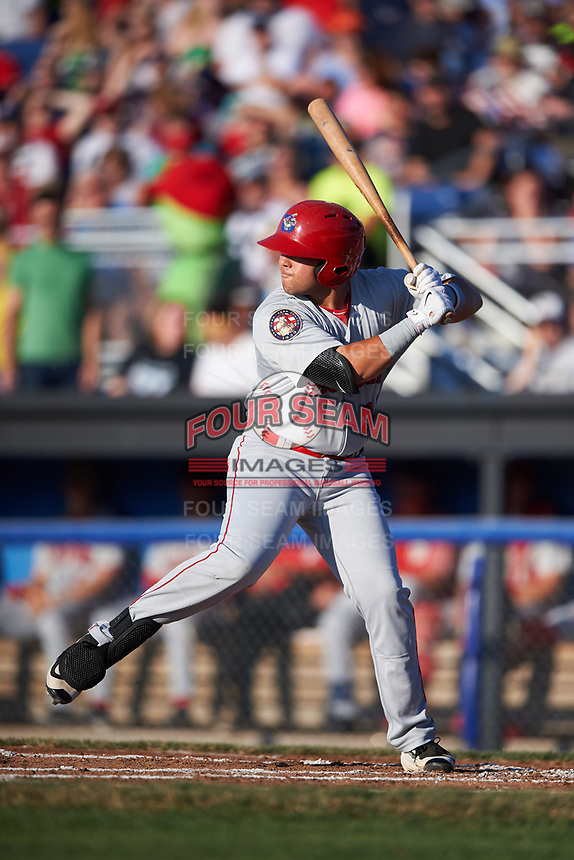 Auburn Doubledays first baseman Jake Scudder (34) at bat during a game against the Batavia Muckdogs on July 4, 2017 at Dwyer Stadium in Batavia, New York.  Batavia defeated Auburn 3-2.  (Mike Janes/Four Seam Images)