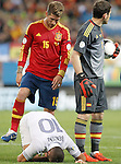 Spain's national team Sergio Ramos and France's national team Karim Benzema injured during match. October 16, 2012. (ALTERPHOTOS/Alvaro Hernandez)