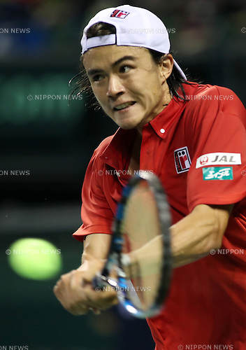 February 3, 2017, Tokyo, Japan - Japan's Taro Daniel returns the ball against France's Richard Gasquet during the Davis Cup World Group First Round tennis match in Tokyo on Friday, February 3, 2017. Gasquet defeated Daniel 6-2, 6-3, 6-2 at the opening game.    (Photo by Yoshio Tsunoda/AFLO) LWX -ytd-