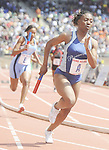 The Gazette Eleanor Roosevelt's Abidemi Adenikinju runs the first leg of the High School 4x100 Championship of America on Friday afternoon at the Penn Relays in Philadelphia. Roosevelt finished a close 2nd with a time of 45.24 seconds.