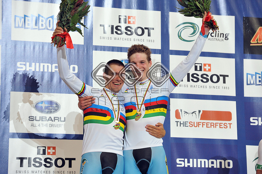 Kenny DE KETELE and Gijs VAN HOECKE (BEL) - Gold Medalists - Men's Madison<br /> 2012 UCI Track Cycling<br /> World Championships <br /> Hisense Arena, Melbourne AUS<br /> Sunday April 8th, 2012<br /> &copy; Sport the library / Jeff Crow