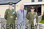 Defence Forces members Sergeant Chris Hoare, Killorglin originally and Gunner James Power, Waterford, delivered the tricolour and Proclamation to Holy Family School Tralee to commemorate the 100 year anniversary here with Principal Ed O'Brian on Monday