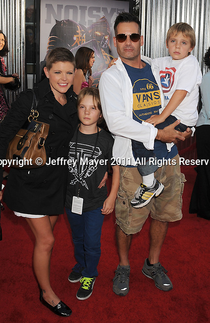 """UNIVERSAL CITY, CA - OCTOBER 02: Adrian Pasdar, Natalie Maines and Family attend the """"Real Steel"""" Los Angeles Premiere at Gibson Amphitheatre on October 2, 2011 in Universal City, California."""