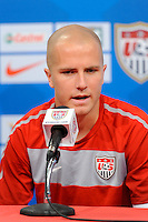 United States (USA) men's national team midfielder Michael Bradley addresses the media during a press conference at PPL Park in Chester, PA, on October 11, 2010.