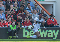 Bournemouth's Junior Stanislas (left) is tackled by Fulham's Ryan Babel (right) <br /> <br /> Photographer David Horton/CameraSport<br /> <br /> The Premier League - Bournemouth v Fulham - Saturday 20th April 2019 - Vitality Stadium - Bournemouth<br /> <br /> World Copyright © 2019 CameraSport. All rights reserved. 43 Linden Ave. Countesthorpe. Leicester. England. LE8 5PG - Tel: +44 (0) 116 277 4147 - admin@camerasport.com - www.camerasport.com