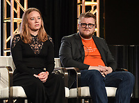 """PASADENA, CA - JANUARY 17: (L-R) Producer Kirstine Barfod and Sound Designer Peter Albrechtsen attend the panel for """"The Cave,"""" Storytelling With Courage during the National Geographic presentation at the 2020 TCA Winter Press Tour at the Langham Huntington on January 17, 2020 in Pasadena, California. (Photo by Frank Micelotta/National Geographic/PictureGroup)"""