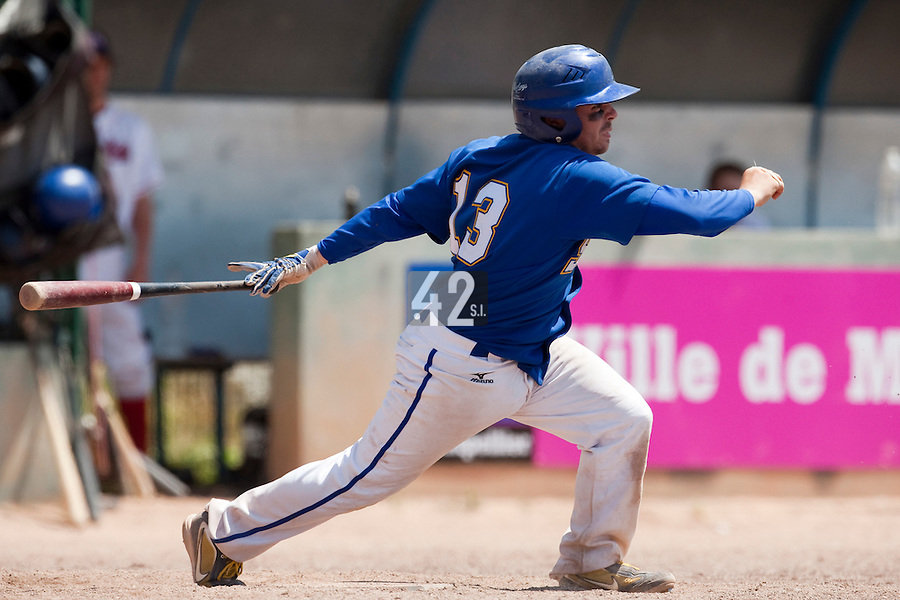 24 May 2009: Damien Teygeman of Senart is seen at bat during the 2009 challenge de France, a tournament with the best French baseball teams - all eight elite league clubs - to determine a spot in the European Cup next year, at Montpellier, France. Senart wins 8-5 over La Guerche.