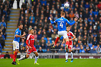 Tom Naylor of Portsmouth with a clearance header during Portsmouth vs Gillingham, Sky Bet EFL League 1 Football at Fratton Park on 12th October 2019