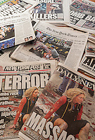 New York newspapers over several days report on 19 year-old Dzhokhar Tsarnaev and his brother 26 year-old Tamerlan Tsarnaev, the alleged Islamic terrorists in the bombing at the finish line of the Boston Marathon on April 15. (© Richard B. Levine)