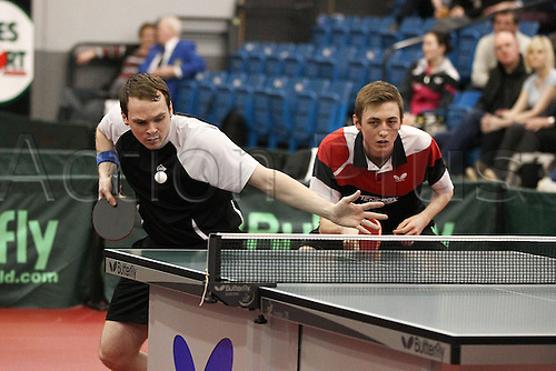 03.03.2013 Sheffield, England. Paul Drinkhall & Liam Pitchford  in action winning the mens doubles final of the English National Table Tennis Championships from the Ponds Forge International Sports Centre.