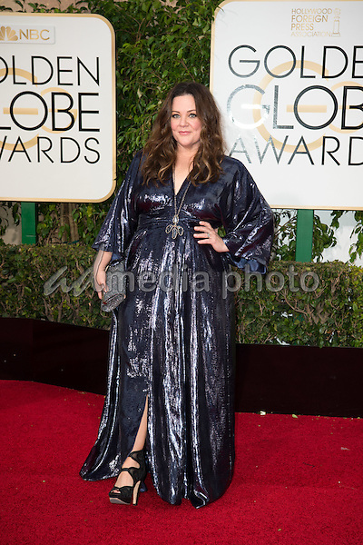 "Melissa McCarthy, Golden Globe Nominee for BEST PERFORMANCE BY AN ACTRESS IN A MOTION PICTURE - MUSICAL OR COMEDY for ""Spy"", arrives at the 73rd Annual Golden Globe Awards at the Beverly Hilton in Beverly Hills, CA on Sunday, January 10, 2016. Photo Credit: HFPA/AdMedia"