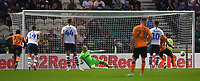 Hull City's Josh Magennis sends Preston North End's Connor Ripley the wrong way to score his team's 1st goal from the penalty spot<br /> <br /> Photographer Dave Howarth/CameraSport<br /> <br /> The Carabao Cup Second Round - Preston North End v Hull City - Tuesday 27th August 2019  - Deepdale Stadium - Preston<br />  <br /> World Copyright © 2019 CameraSport. All rights reserved. 43 Linden Ave. Countesthorpe. Leicester. England. LE8 5PG - Tel: +44 (0) 116 277 4147 - admin@camerasport.com - www.camerasport.com