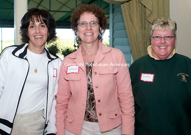 GOSHEN, CT- 11 SEPT 06- 0911006JT07-<br /> Lisa Boyne and Carol Gaylord of Northwest Community Bank with Nancy Brown of Burns, Brooks &amp; McNeil at the 6th annual Golf for Good Causes at the Torrington Country Club in Goshen on Monday, Sept. 11. The event was sponsored by Northwest Community Bank, Litchfield Bancorp, and Burns, Brooks &amp; McNeil to benefit the Susan B. Anthony Project, F.I.S.H., The Open Door, Inc., and the Community Kitchen of Torrington, Inc.<br /> Josalee Thrift Republican-American