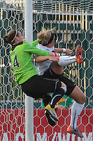 Goalkeeper Ashlyn Harris of the Western New York Flash takes down Ella Masar of the magicJack while trying to keep the ball out of the net. The Western New York Flash defeated the magicJack 3-0 in Women's Professional Soccer (WPS) at Sahlen's Stadium in Rochester, NY on May, 22 2011.