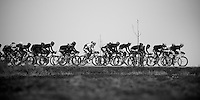 Gent-Wevelgem 2013.Leading echelon plowing its way through the open, windy Fields of De Moeren (lowest point in Belgium; 3m under sea-level).