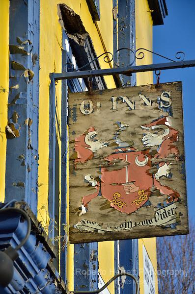 Dilapidated London pub sign