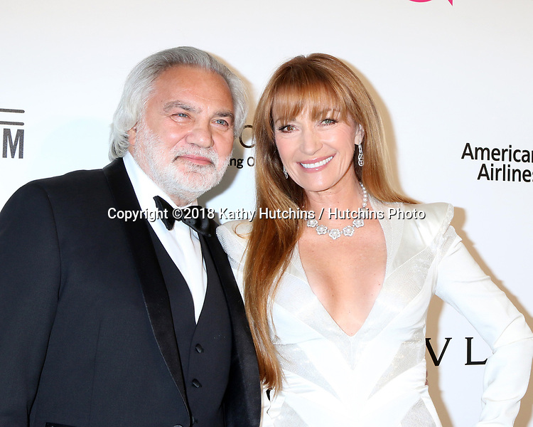 LOS ANGELES - MAR 4:  David Green, Jane Seymour at the 2018 Elton John AIDS Foundation Oscar Viewing Party at the West Hollywood Park on March 4, 2018 in West Hollywood, CA