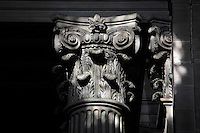 Corinthian capital, inside entrance, Eglise Saint-Sulpice (St Sulpitius' Church), c.1646-1745, late Baroque church on the Left Bank, Paris, France. Picture by Manuel Cohen