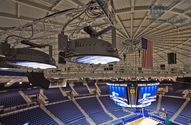 Sept. 27, 2013; Energy-efficient LED lighting in the Purcell Pavilion arena.<br /> <br /> Photo by Matt Cashore/University of Notre Dame