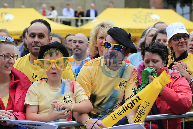 Colourful fans in the crowd in Leeds city centre before the start Stage 1 of the 2014 Tour de France running 190.5km from Leeds to Harrogate. 5th July 2014.<br /> Picture: Eoin Clarke www.newsfile.ie