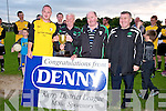 Capt of the Rattoo Rovers B Team Sean McKenna and team manager Tom Horan, acepts the 2nd Div Cup from John O'Regan after they beat Mastergeaha Rangers, in the 2ndiv Cup at Mounthawk Park, on Saturday evening, l-r: Sean Mckenna (CVapt), John O'Regan, Tom Horan (manager) and Denis Guerin (Mounthawk Park).....