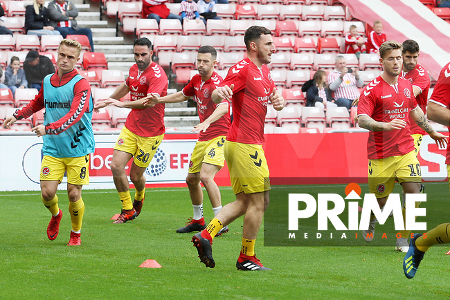 Fleetwood Town players warm-up during the Sky Bet League 1 match between Sunderland and Fleetwood Town at the Stadium Of Light, Sunderland, England on 8 September 2018. Photo by Stephen Hadlow/MI News & Sport/PRiME Media Images.