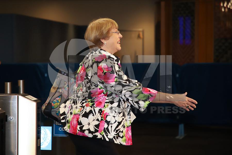 NOVA YORK, EUA, 24.09.2019 - ONU-EUA - Michelle Bachelet<br /> Ex-Presidente da República do Chile durante da 74ª Assembleia Geral da Organização das Nações Unidas (ONU) em Nova York nos Estados Unidos nesta terça-feira, 24. (Foto: Vanessa Carvalho/Brazil Photo Press)