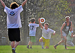 30 April 2013: The Vermont Commons School Flying Turtles play the South Burlington High School Rebels in Ultimate Disk at Farrell Park in South Burlington, Vermont. The Turtles rallied to edge out the Rebels 11-10 to win their second contest of the season. Mandatory Credit: Ed Wolfstein Photo