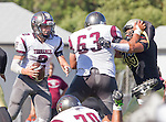 Palos Verdes, CA 09/16/16 - Ryan Carroll (Torrance #2), Tony Dacosta (Torrance #63) and Alex Bobb (Peninsula #88) in action during the Torrance - Palos Verdes Peninsula CIF Varsity football game.