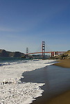 San Francisco: Baker Beach with Golden Gate Bridge in background.  Photo # 2-casanf83466.  Photo copyright Lee Foster
