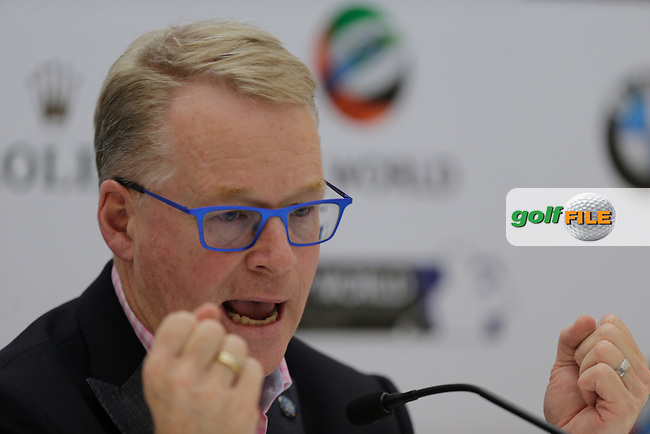 KEITH PELLEY, European Tour Chief Executive during the Preview for the DP World Tour Championship at the Jumeirah Golf Estates in Dubai, UAE on Monday 16/11/15.<br /> Picture: Golffile | Thos Caffrey<br /> <br /> All photo usage must carry mandatory copyright credit (&copy; Golffile | Thos Caffrey)