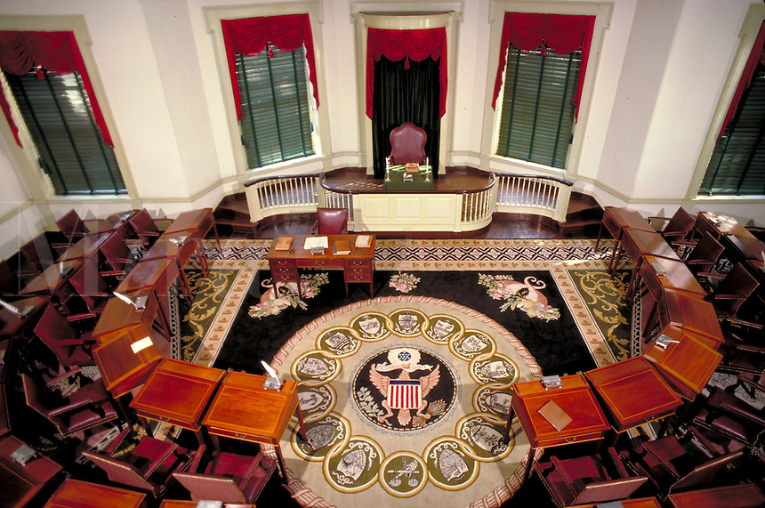 A view from the balcony shows the Senate Chamber of Congress Hall at Independence Hall. Philadelphia Pennsylvania United States.