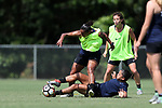 CARY, NC - JUNE 01: Rosana (above) and Debinha (below) challenge for the ball. The North Carolina Courage held a training session on June 1, 2017, at WakeMed Soccer Park Field 7 in Cary, NC.