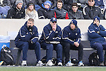 15 December 2013: Notre Dame head coach Bobby Clark (SCO) (2nd from left) his is assistants. The University of Maryland Terripans played the University of Notre Dame Fighting Irish at PPL Park in Chester, Pennsylvania in a 2013 NCAA Division I Men's College Cup championship match. Notre Dame won the game 2-1.
