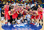 Guangzhou Long Lions celebrate winning the Summer Super 8 championship, while Samsung Thunders are the runner-ups, at the Awards Ceremony at the Macao East Asian Games Dome on July 22, 2018 in Macau, Macau. Photo by Marcio Rodrigo Machado / Power Sport Images