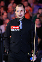 Barry Hawkins enters the arena before the Dafabet Masters FINAL between Barry Hawkins and Ronnie O'Sullivan at Alexandra Palace, London, England on 17 January 2016. Photo by Liam Smith / PRiME Media Images