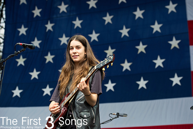 Danielle Haim of Haim performs during the 2013 Budweiser Made in America Festival in Philadelphia, Pennsylvania.