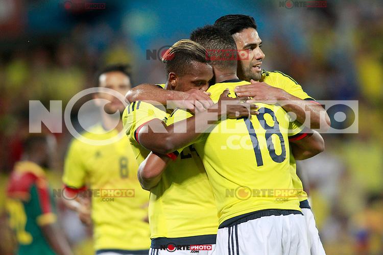 Colombia's Abel Aguilar, Jose Heriberto Izquierdo, Frank Fabra and Radamel Falcao celebrate goal during international friendly match. June 13,2017.(ALTERPHOTOS/Acero) (NortePhoto.com) (NortePhoto.com)