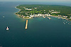 Aerial view of Mackinac Bridge and Island