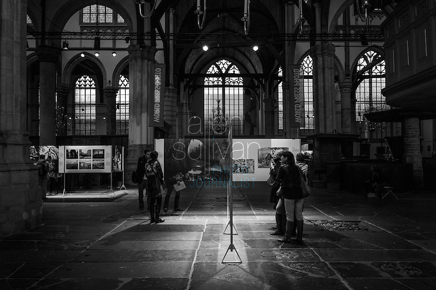 The World Press Photo exhibit at Oude Kerk, oldest church in Amsterdam, The Netherlands, May 2012.