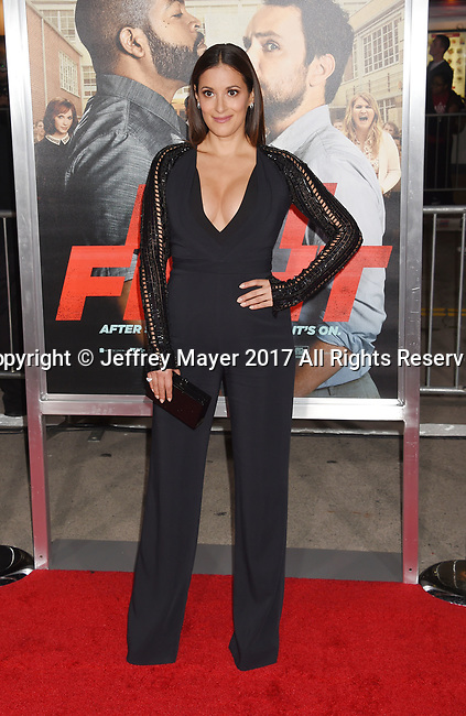 HOLLYWOOD, CA - FEBRUARY 13: Actress Angelique Cabral  attends the premiere of Warner Bros. Pictures' 'Fist Fight' at the Regency Village Theatre on February 13, 2017 in Westwood, California.