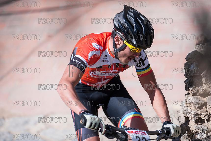 Chelva, SPAIN - MARCH 6: Cesar Antonio Belenguer during Spanish Open BTT XCO on March 6, 2016 in Chelva, Spain