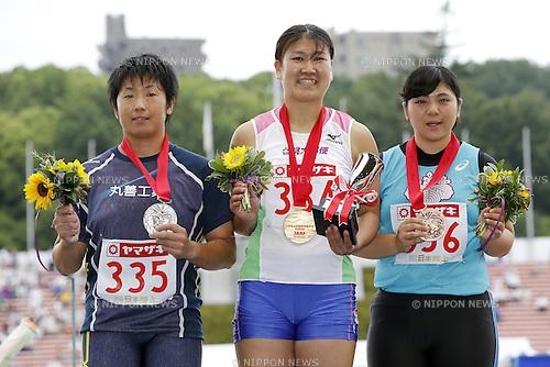 (L-R) Masumi Aya, Akane Watanabe, Hitomi Katsuyama, JUNE 24, 2016 - Athletics : The 100th Japan Track & Field National Championships Women's Hammer Throw Award Ceremony at Paloma Mizuho Stadium, Aichi, Japan. (Photo by Yusuke Nakanishi/AFLO SPORT)