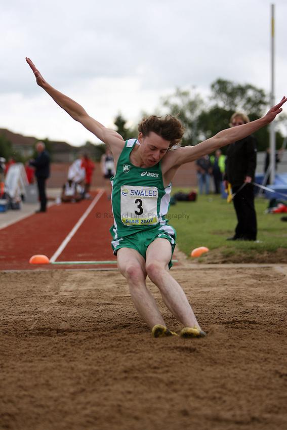 Photo: Rich Eaton...Schools International Athletic Board, Track & Field International Match, Newport. 21/07/2007. Nathan Reid of Ireland competes in the boys long jump.