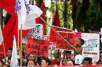 Trabalhadores vinculados as centrais sindicais Cut, CGT, Força Sindical, além de diversos sindicatos e estudantes fizeram passeata contra corrupção , saúde , educação e melhores salários. Os manifestantes dos vários segmentos  partiram de de vários pontos da cidade  se encontrando em frente a sede do governo do estado. De acordo com a Polícia Militar cerca de duas mil pessoas participaram das manifestações, que encerrou com manifestantes recebidos por representantes do governo estadual.<br /> Belém, Pará, Brasil.<br /> Foto Paulo Santos<br /> 11/07/2013