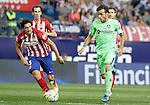 Atletico de Madrid's Stefan Savic (l) and Getafe's Pedro Leon during La Liga match.September 22,2015. (ALTERPHOTOS/Acero)