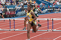After winning the 100-meter hurdles in 14.89, Sedalia Smith-Cotton senior Mariona Ward runs to a runner-up finish in the 300-meter hurdles in 46.05 at the 2015 Kansas Relays.